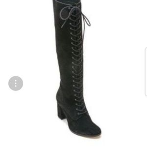 Black knee high lace up boots